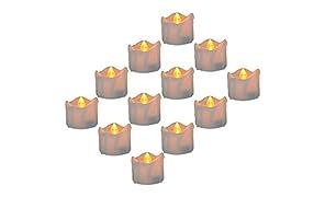 WHCREAT Realistisch, Sicherheit und Helle Flackernde Flammenlose LED Teelichter, Packung mit 12, 1.69x1.18 Zoll, Elektro Fälschung Kerze im Gelb