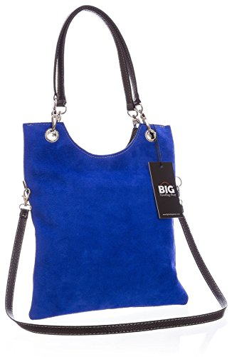 Big Handbag Shop in pelle scamosciata, Maniglia superiore sera frizione borsa a tracolla Electric Blue (NL399)