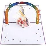 Carte D'Anniversaire Licorne NACTECH 3D Pop Up Carte Cartes d'invitation Carte de Félicitation Carte de Vœux de Noël avec Enveloppe pour Cadeau Fille Mariage Amis Nouvel An Anniversaire d'Enfant