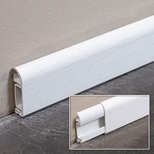 MonMarchéDeco - Plinthes PVC Creuse Cimaise Fonction Passe Câble - Lot de 5 - Long.1m x Haut. 52,2mm x...