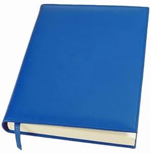 Lucrin - Grand livre d'or - cuir de vachette lisse - Bleu Roi