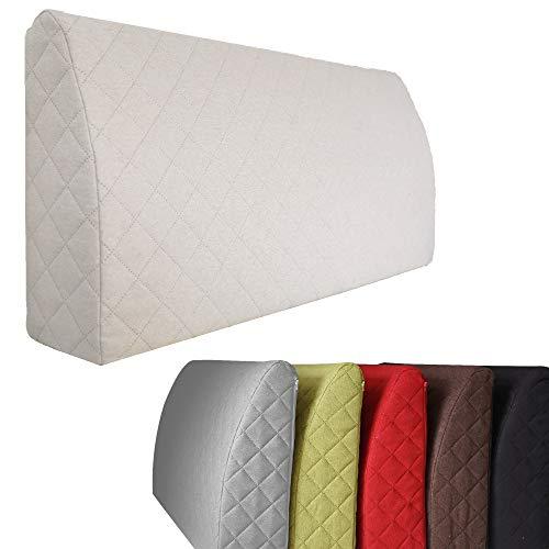 Sabeatex® Rückenlehne für Bett, Sofakissen, Rückenkissen für Lounge-oder Palettenmöbel in 5 trendigen Farben. Länge 90 cm, Höhe 45 cm Farbe: (Beige / Natur) - Rückenlehne