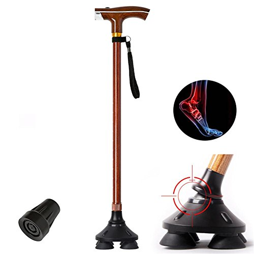 KYCD Faltstange Rutschfester, Verstellbarer Walking-Stick mit LED-Licht Camping Wandern Trekking-Stab-Pole, Selbsthaltender TIPP, Ergonomischer Holzgriff, B (Pole-licht-schalter)
