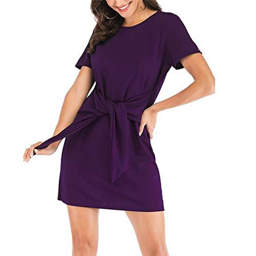JIUZHOU Damenmode Kurze Ärmel Solide Lässige Kleidung Rundhalsausschnitt Knot Front Pencil Kleid Minikleid ()