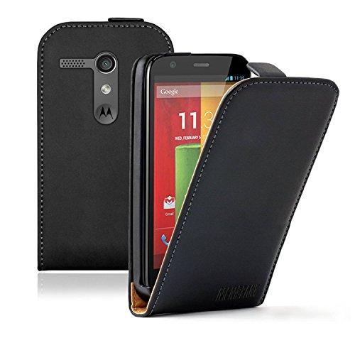 Membrane - Noir Étui Coque Motorola Moto G (XT1032 / Dual Sim XT1033 / LTE XT1045 / Peregrine) - Flip Case Cover Housse