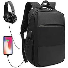 XQXA Mochila Ordenador Portátil,Negocios Mochila Hombre de Laptop Impermeable con USB Puerto de Carga