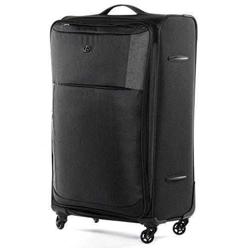 FERGÉ® Bagage Cabine 4 Roues Extensible Saint-Tropez Valise de Cabine Douce en Toile Bagage à Main Trolley 4 roulettes 360 degrés Noir