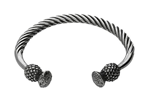 Handmade Scottish Thistle Head Viking Pewter Small Bracelet ~ Adjustable