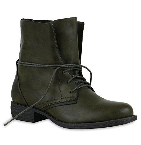 Damen Schuhe Desert Boots | Schnürschuhe Camouflage | Stiefeletten Leder-Optik | Blockabsatz Booties Muster | Flandell®, Dunkelgrün Cut-outs, 38 EU
