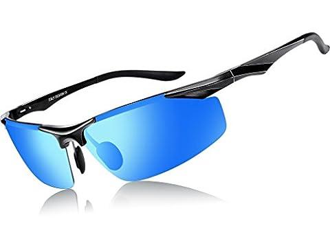 ATTCL® 2016 sports polarisées lunettes de soleil hommes Golf Pilote cadre Pêche métal incassable 2206 Blue