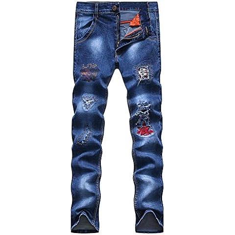 ZYQYJGF Pantaloni Danza Pareggiatore Sweatpants Uomo Strappato Magro Diritto Zipper Jeans Casual Multi-Indossando Patchwork Fori . 28