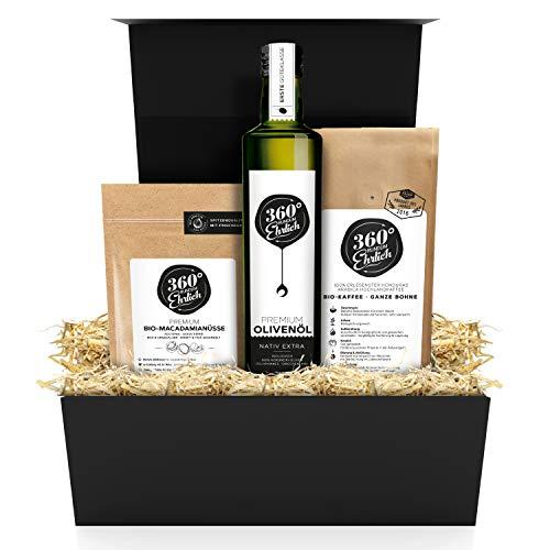 Premium Geschenkbox Geburtstage und andere Anlässe - Preisgekrönte Bio Kaffeebohnen, Bio Olivenöl und Macadamianüsse Bio - Nachhaltige Geschenke für Frauen und Männer von 360° rundum ehrlich