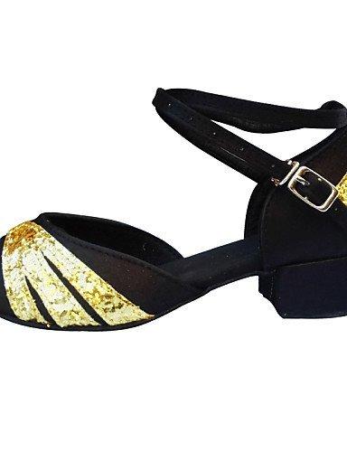 ShangYi Chaussures de danse ( Noir / Bleu / Rouge ) - Non Personnalisables - Talon Bas - Satin -Ventre / Latine / Jazz / Baskets de Danse / Black