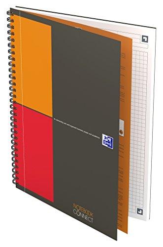 OXFORD 400080784 Notebook Connect International B5 kariert 80 Blatt ,mit kostenloser App grau Spiralblock Collegeblock - clevere Organisation für Manager und Führungskräfte