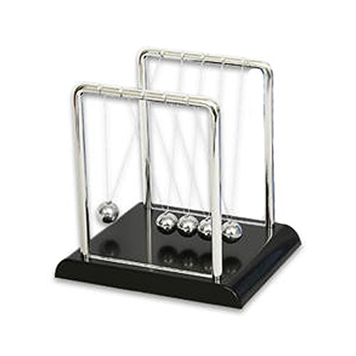 Newton's Cradle Kit - Physics Balance Balls - 7 inch by 5 inch Science Display - Executive Office Newton's Pendulum with 5 Metal Balls by Newtons cradle -