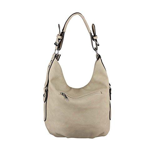 OBC DAMEN TASCHE SHOPPER Hobo-Bag Henkeltasche Schultertasche Umhängetasche Handtasche CrossOver CrossBag Damentasche Reisetasche Beuteltasche (Dunkelblau 35x29x10 cm) Taupe.