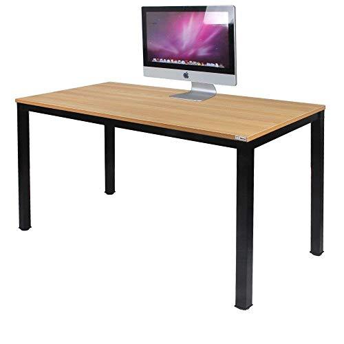 NeedHome Computer Schreibtisch 120 x 60 x 75 cm PC Schreibtisch Büro Schreibtisch Workstation für Home Office Verwenden Schreibtisch, Esstisch Konferenztisch,Teak & Schwarz,AC3BB-120-SH -