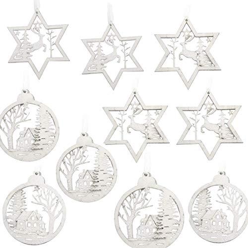 Baumschmuck Holz-Anhänger Weihnachtsbaumschmuck Deko-Anhänger, QILICZ 10 stück Weihnachts-Anhänger Christbaumschmuck 12cm Stern und 10cm rund Weihnachten Deko zum Aufhängen