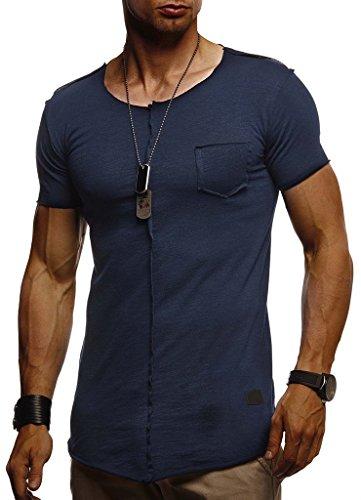 LEIF NELSON Herren Sommer T-Shirt Rundhals-Ausschnitt Slim Fit Baumwolle-Anteil | Basic Männer T-Shirt Crew Neck Hoodie-Sweatshirt Kurzarm lang | LN6288 Dunkel Blau XX-Large -