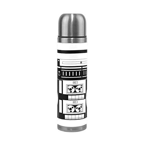 BENNIGIRY Retro Audio Cassette Music Thermos botella de agua – doble pared de acero inoxidable aislado al vacío taza de viaje mantiene las bebidas calientes durante 12 horas 500 ml – 17 oz