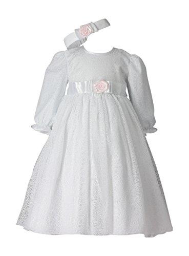 26fdffdd93805 Boutique-Magique Robe baptême Longue + Bandeau bébé Fille