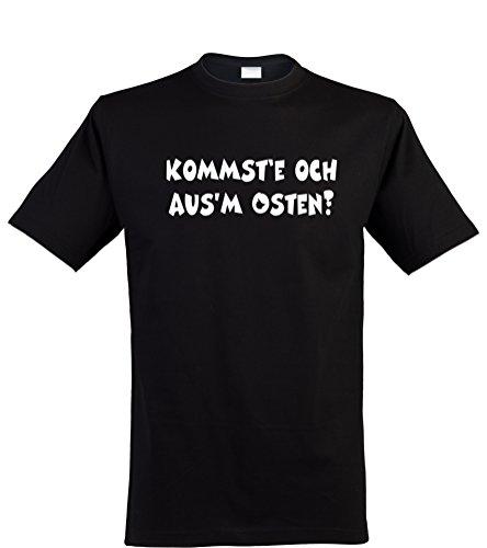 Klamottenkiste24 Herren T-Shirt, kommst'e och aus'm osten?, schwarz, Gr. ()
