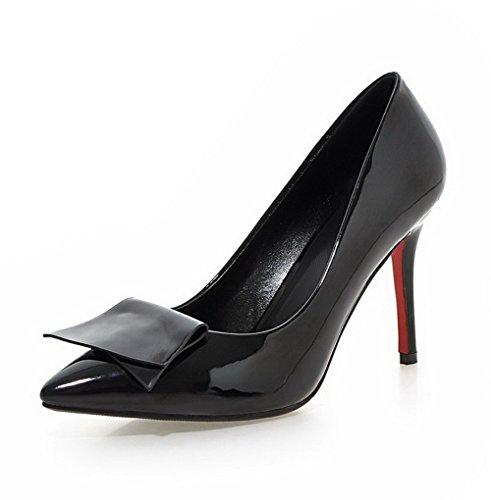 AgooLar Femme Tire à Talon Haut Pu Cuir Couleur Unie Pointu Chaussures Légeres Noir