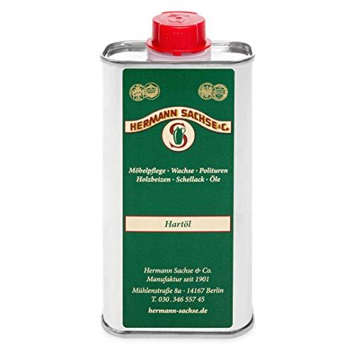 Hermann Sachse Holzöl Hartöl farblos für innen 250ml Pflegeöl für Möbel Tisch Arbeitsplattenöl Eiche Wildeiche Kernbuche Buche Nussbaum Kiefer Leinöl-Holzschutz zum Holz Ölen lösemittelfrei