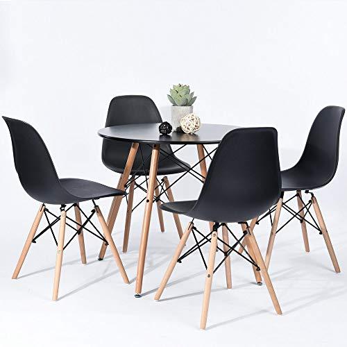 Fanilife 80cm Esszimmer Tisch rund Moderne Retro Schreibtisch mit Buche Holz Beine schwarz