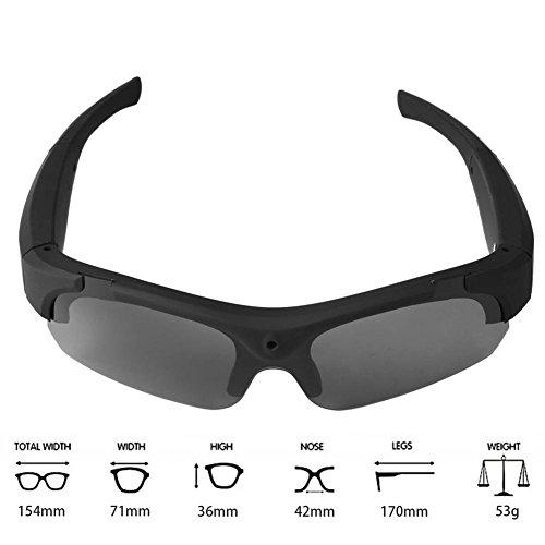 Teepao Sonnenbrille, Full HD, 1080P, Weitwinkel, Mini-Videoaufnahme, UV400-Schutz, polarisierte Sonnenbrille, Handfreie Action-Kamera für Outdoor-Sportarten, Radfahren, Fahren