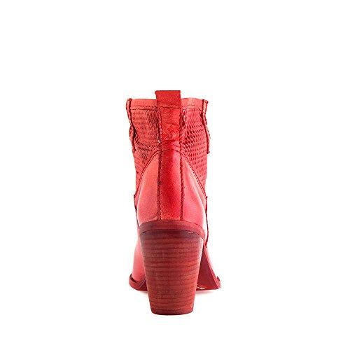 Felmini - Chaussures Femme - Tomber en amour avec Boston 7797 - Bottes à Talons - Cuir Véritable - Rouge Rouge
