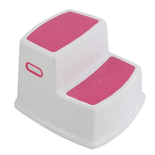 Drawoz 2 Tritthocker für Kinder Kleinkind Stuhl für Toilette Töpfchen Training Rutsch Badezimmer Küche - Rot, Medium