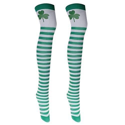 Fenteer Overknee Strümpfe Kniestrümpfe Schenkelstrümpfe Cosplay Zubehör für Irischer Nationalfeiertag und Karneval
