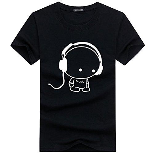 NiSeng Herren Einfach T-Shirt Casual T-Shirt Cartoon Bilder Druck Kurze Ärmel Rundhals T-Shirt Schwarz