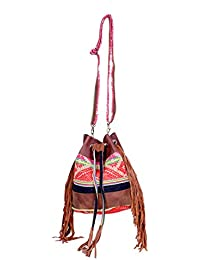 IndiWeaves Women Vintage Handmade Jacquard Leather Handle Cross Body Sling Bag - B076599KL3