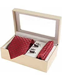 Sir Michele Designer Maroon Micro Silk Tie, Pocketsquare and Cufflink Set for Men (Pack of 3)