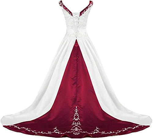 Zorayi Damen V-Ausschnitt Kapelle-Schleppe Perlen Stickerei Satin Hochzeitskleid Brautkleider...