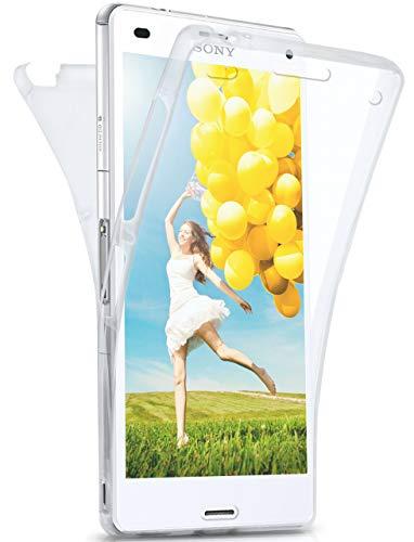 MoEx® Beidseitige Silikonhülle [Vorder + Rückseite] passend für Sony Xperia Z3 | 360 Grad Cover mit Komplett-Schutz - durchsichtig, Transparent