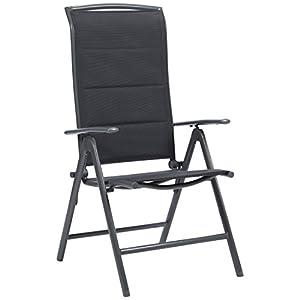 Ultranatura Aluminium Klappsessel Korfu Serie Plus, Gartenstuhl, Camping Stuhl, gepolstert,8-fach verstellbar, wetterfest, 108,5 x 50 x 50 cm, grau