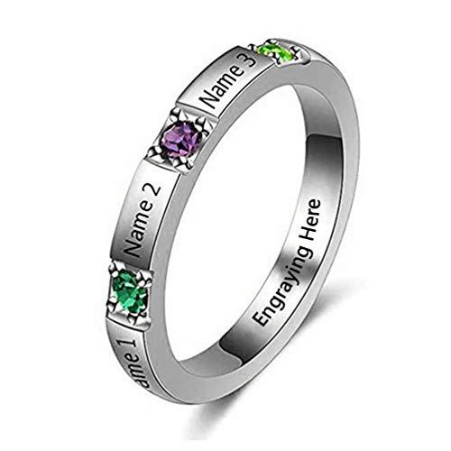 Yanday Ringe mit Namen graviert personalisierte Versprechen Birthstone Ring Custom Jewelry(Silber 48 (15.3))