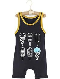d49c7c8d0eee Puseky Newborn Baby Boys Girls Ice Cream Cool Sleeveless Romper Jumpsuit  Bodysuit (18-24