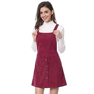 Allegra K Women's Corduroy Button Decor A Line Suspender Overall Skirt Dress Burgundy XL (UK 20)