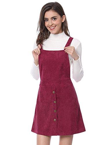 Allegra K Damen A Linie Button Dekor Corduroy Trägerkleid Kleid, L (EU 44)/Burgundy