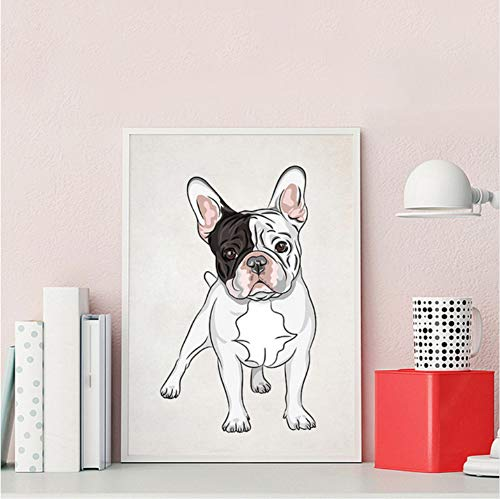 gaowei Nordic Cartoon Bulldog Francés Arte de la Pared Pintura...
