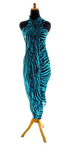 Riesen Auswahl - Sarong Pareo Wickelrock Strandtuch Tuch Wickeltuch Handtuch - Blickdicht - Handbedruckt inkl. Schnalle in runder Form Zebra Türkis Schwarz