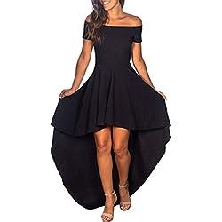Higlles_Robe ❣Nouvelle Mode Asymétrique à épaules Dénudées, Femmes Dos Nu Irregulieres Robes De Cocktail Formelles Soirées