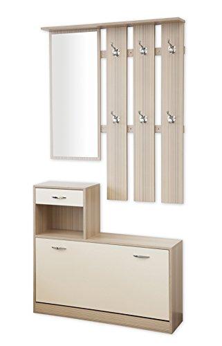 Garderoben-Set 3-teilig SIENA 100cm breit creme / gestreift (woodstock) mit nässebeständigen und kratzfesten Melaminbeschichtung
