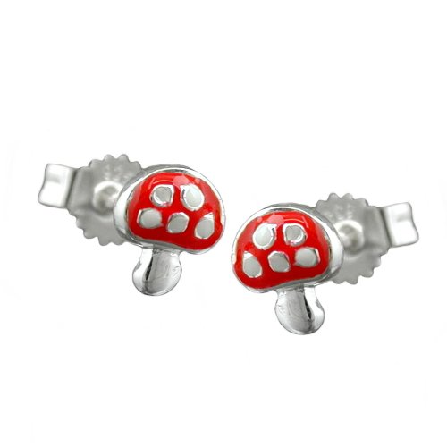 earring-toadstool-red-silver-925