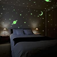 DreamKraft Glow in The Dark Stars with Moon Radium Wall Stickers (Vinyl, Multicolour) - Set of 5