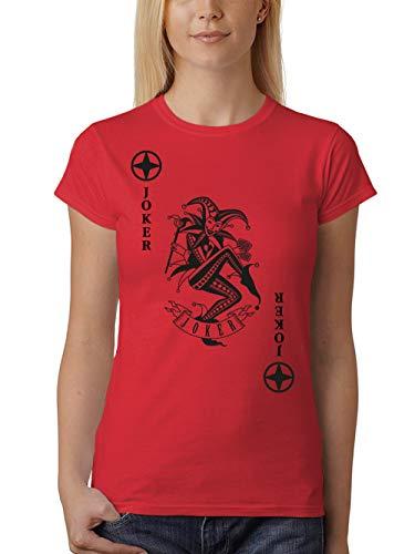Rot Und Schwarz Kostüm Joker - clothinx Damen T-Shirt Fit Karneval & Fasching Spielkarte Joker Kostüm Rot/Schwarz Größe L